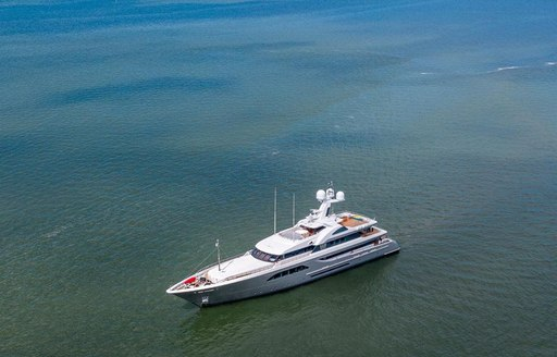 feadship superyacht W at aerial view while at anchor in the North Sea