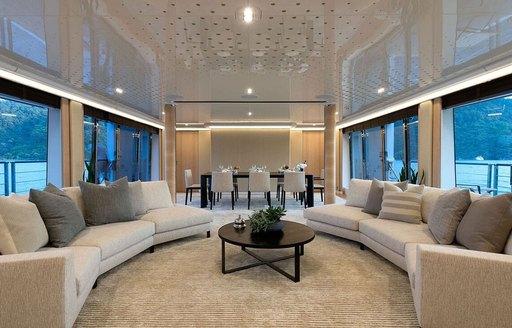 Main salon of yacht Aquarius