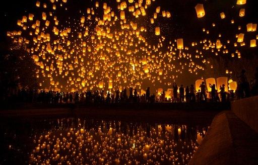 Loi Krathong Lanterns in the sky at Thailand's festival of light