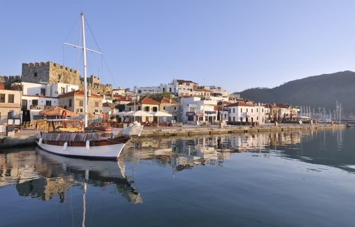 Calm waters of Marmaris with town in background