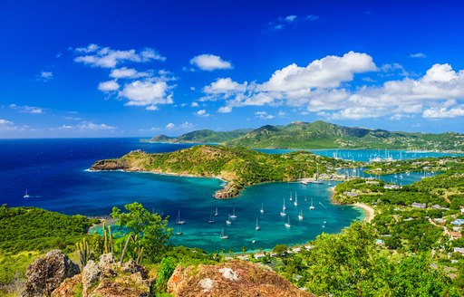 Aerial shot of the bay in the the Virgin Islands