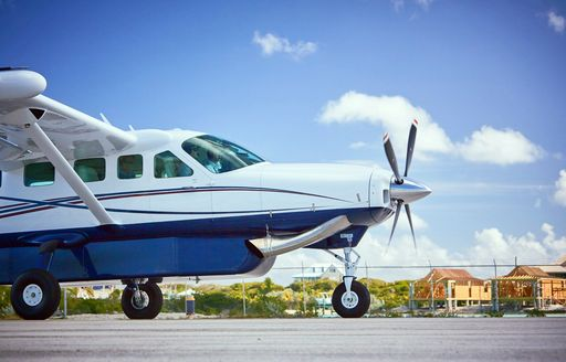 small private propellor private taking off from the bahamas