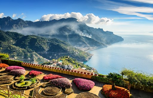 Fantastic view of the Amalfi coast. in Ravello, where the movie Tenet was filmed, Italy