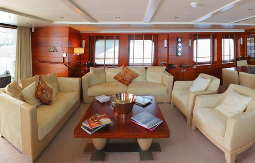 cream sofas and armchairs in main salon of expedition yacht BELUGA