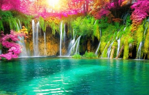 Exotic waterfall at Plitvice lakes in Croatia