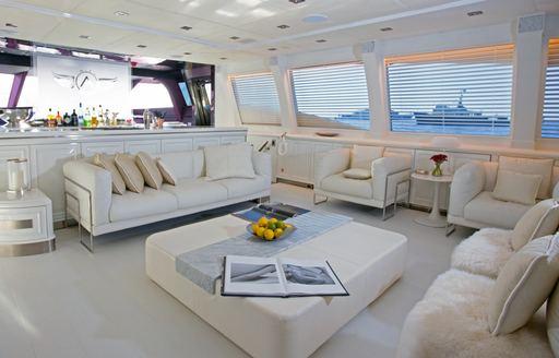 light, bright main salon on board luxury yacht ASCARI