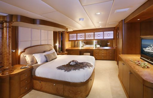 The master cabin and interior styling of luxury yacht DAYDREAM