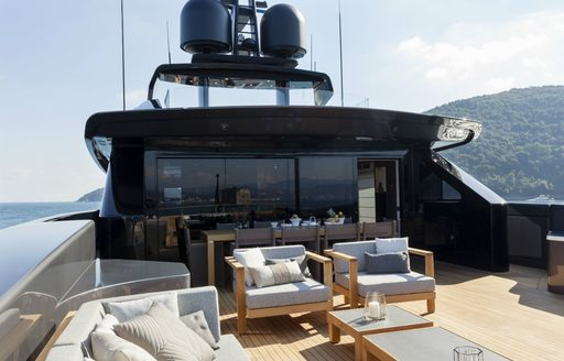 conversation area on the upper deck aft of charter yacht 'Lucky Me'