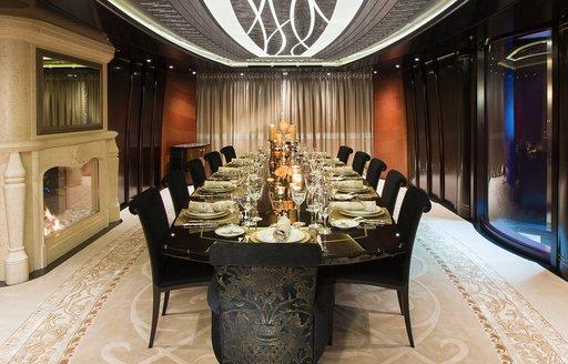 Formal dining room on board motor yacht KISMET