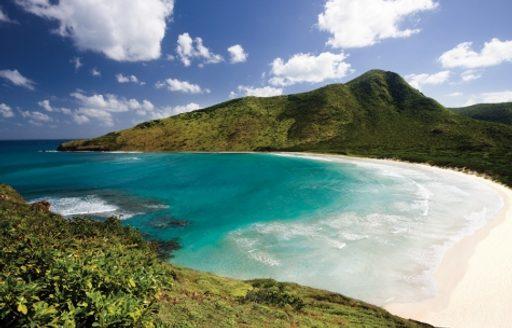white-sand St Kitts beach in the Caribbean