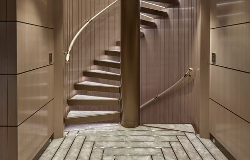 staircase on luxury yacht soaring