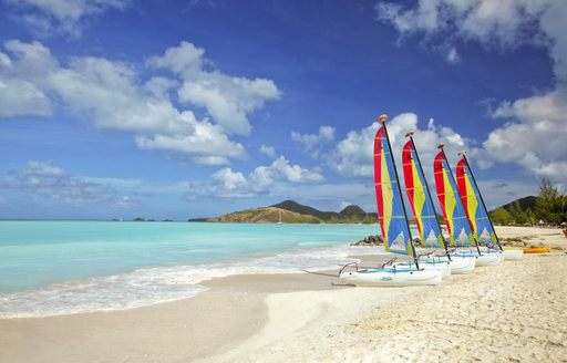 Four colorful windsurf boards lined up on a sandy beach