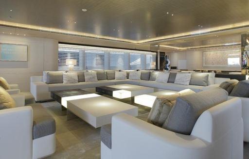 The main salon of luxury yacht Grace E
