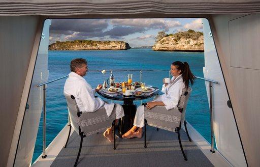 breakfast on balcony on superyacht