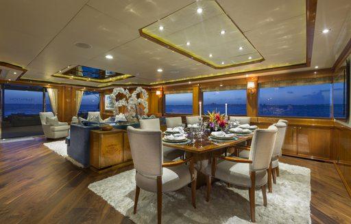 Dining room on-board superyacht TEMPTATION