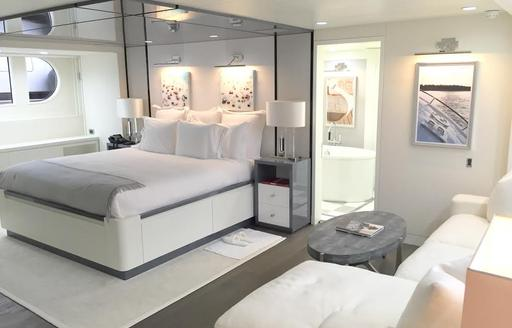 The master suite onboard luxury yacht BG