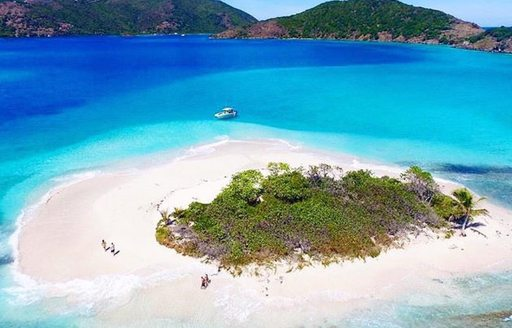 A small white sand island surrounded by cobalt blue waters in the BVIs