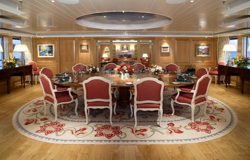 grand country manor dining table on board charter yacht 'Northern Star'