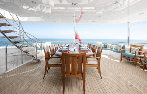 The alfresco dining option on luxury yacht KATYA