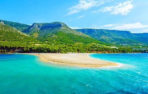 Golden Horn; sandy beach at Bol on Brac island of Croatia in summertime