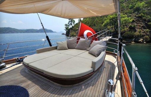 Sunbed on the aft deck of REGINA