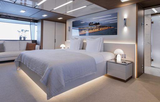 master suite aboard charter yacht Seven Sins