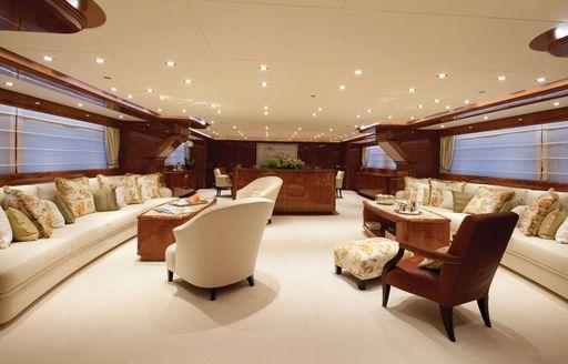 Main salon on superyacht BARON TRENCK