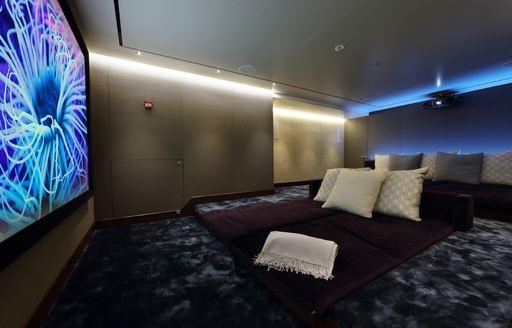 The home cinema on board superyacht 'Cloud Nine'