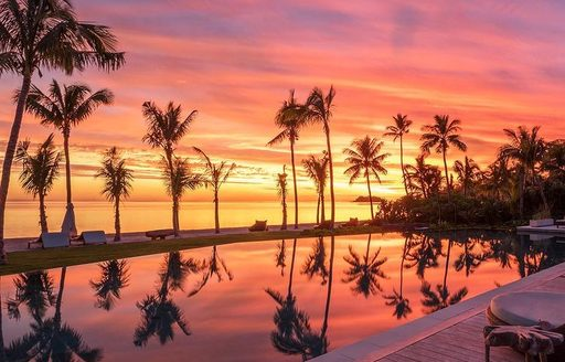Six senses fiji hotel sunset