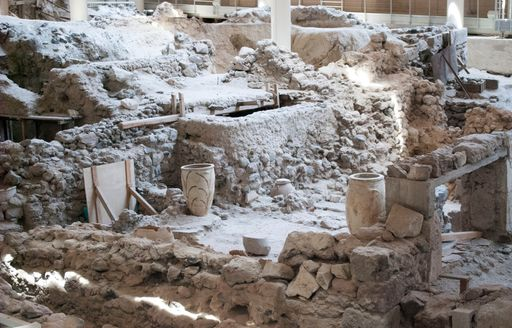 Partially excavated town of Akrotiri