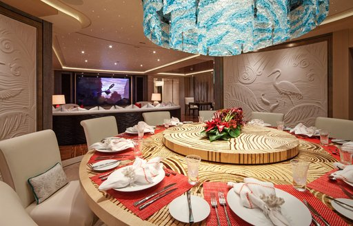 Formal dining onboard MY tranquility