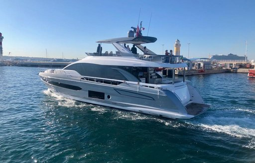 Yacht cruises along the water at 2019 Cannes Yachting Festival
