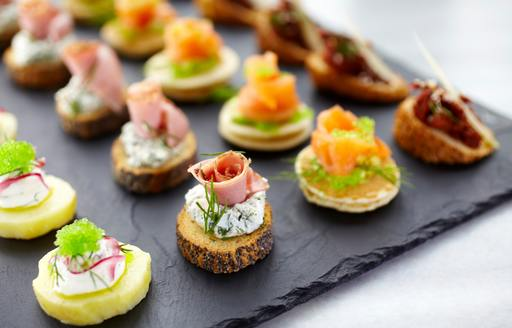 A slate tray of canapes