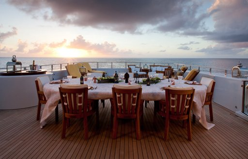 superyacht OASIS al fresco dining table on deck