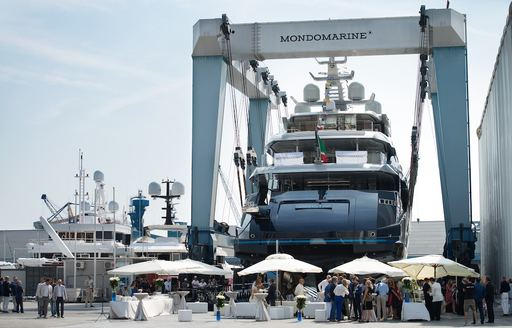 the launch ceremony of luxury yacht SARASTAR gets underway at Mondo Marine's headquarters in Savona