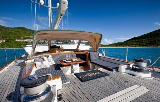 The sundeck featured on sailing yacht MARAE