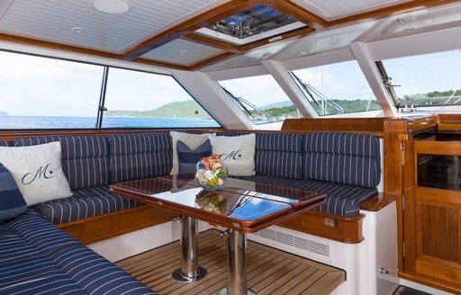 Alfresco dining on board sailing yacht MARAE
