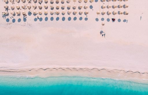 Aerial view of Myrtos beach greece