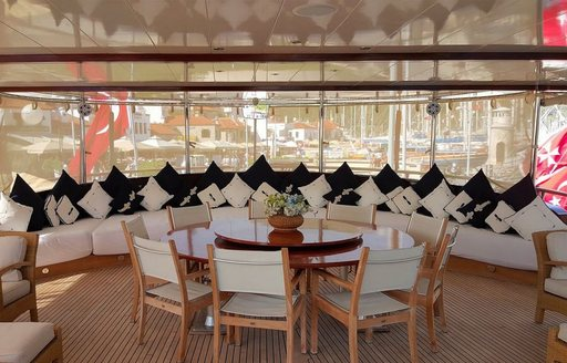 luxury yacht Sea Dream aft deck dining and seating