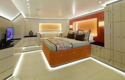 A guest stateroom on board sailing yacht GANESHA