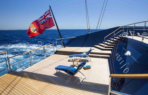 Beach club and swim platform on luxury sailing yacht AQUIJO