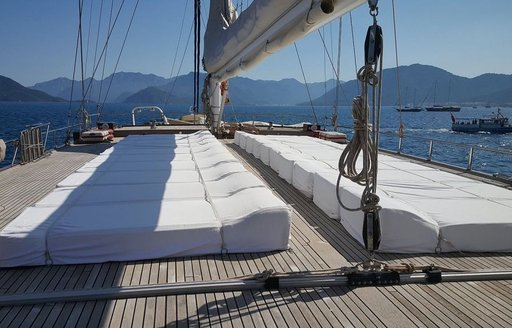 sun pads on raised cabin house on foredeck of luxury gulet Sea Dream