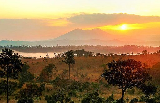 The sunset over the Thung Salaeng Luang National Park, Thailand
