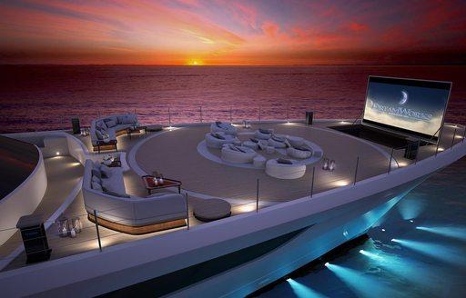 cosmos yacht helipad and al aflfresco cinema