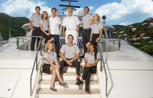 Cast pose on board superyacht VALOR, with Kate Chastain, Ben Robinson and Captain Lee Rosbach
