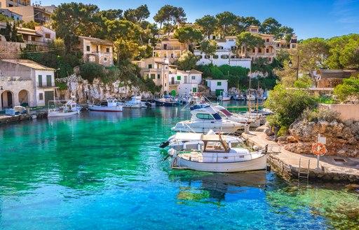 sleepy fishing village in beautiful island of mallorca