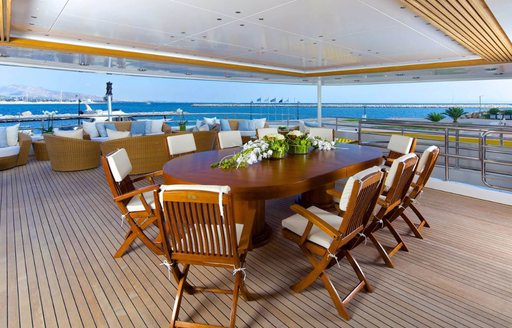 The central alfresco dining space on board O'MEGA