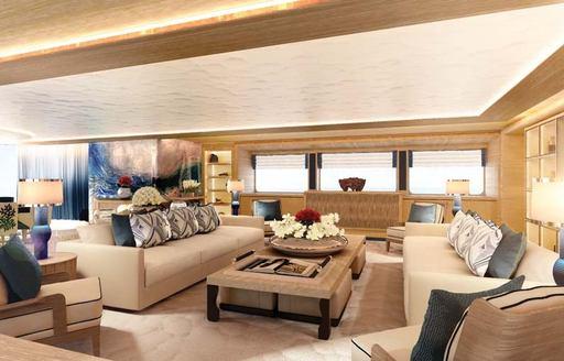 The cream interior of superyacht 'Here Comes The Sun'