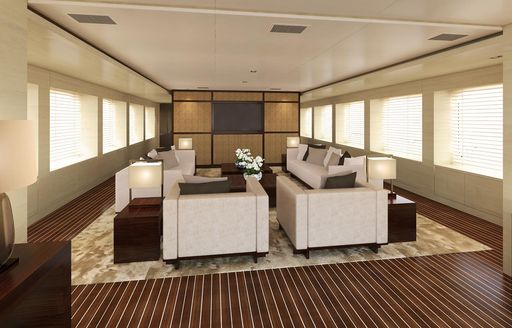 rendering of the main salon aboard superyacht CHASSEUR