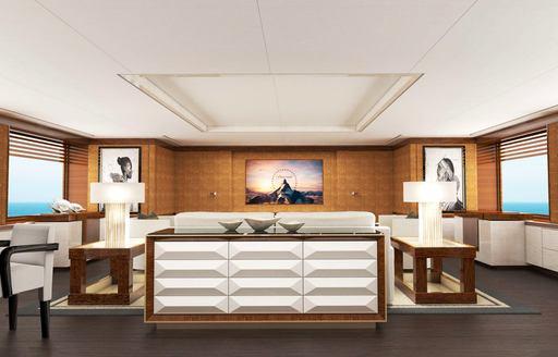 luxury superyacht galene interiors, main salon